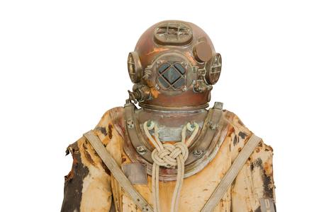 old mark V diver helmet deep sea isolated