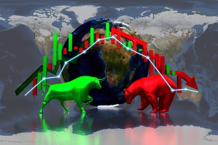 green bull and red bear sign symbol stock market and wold background