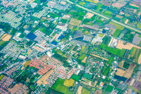 top view landscape city and green tree Stock Photo