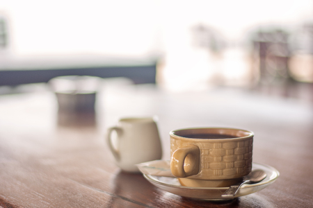 closeup cup coffee hot drink breakfast on the table Stock Photo
