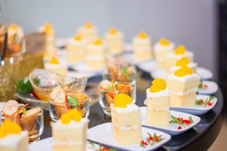 white sweet cake snack food blur background Stock Photo