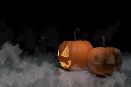 pumpkin orange color in smoke black background concept halloween holiday illustration