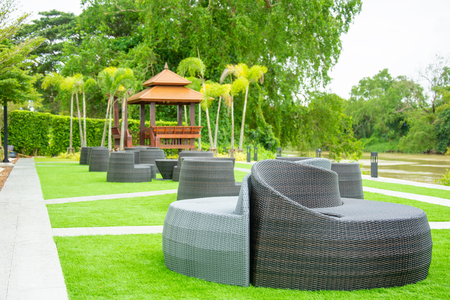 chair on grass in resort relax summer vacation Stock Photo