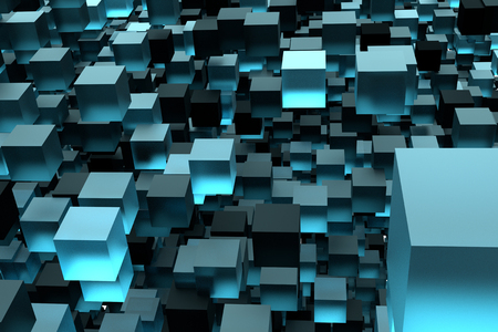 blue and black cube box 3d illustration background