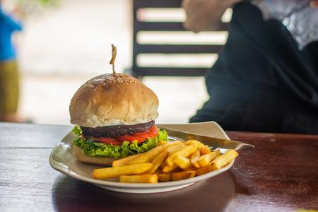 hamburger beef and tomato fast food breakfast unhealthy