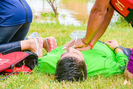 man chest compression in cpr training course in victim drowning