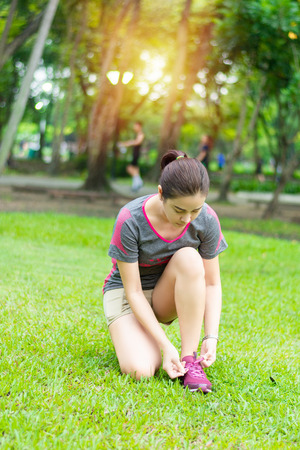 sport women healthy in the garden prepare running