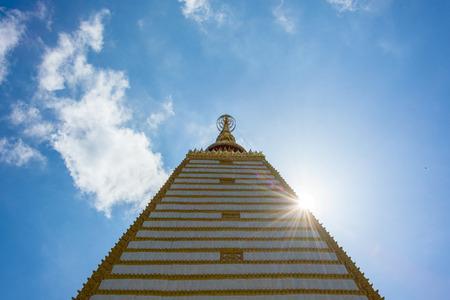 gold pagoda buddha religious blue sky and white cloud