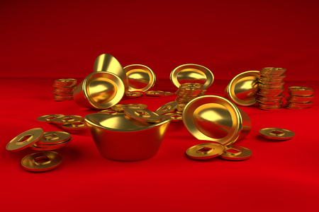 3d gold and coin china concept china day Banque d'images