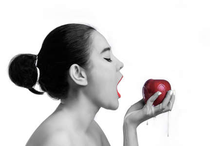 Asian woman Eating red apples healthy concept