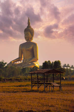 Wat Muang big buddha and cottage in Rice fields  Angthon,Thailand Standard-Bild