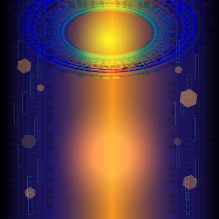 Portal and hologram futuristic circle on blue and orange isolate background