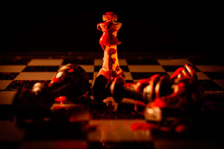 Chess board blood game concept of business ideas and competition and strategy ideas concep Standard-Bild