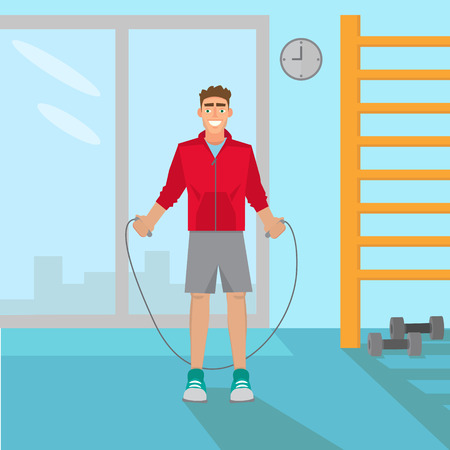Man with jumping rope to exercise vector illustration.