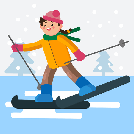 Girl skiing on flat surface