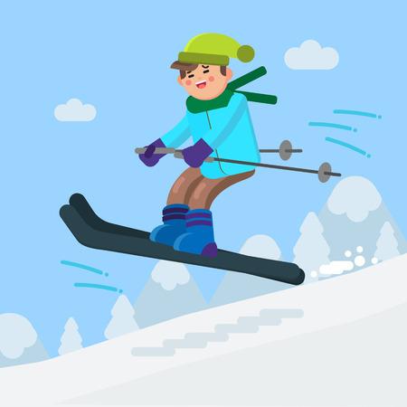 Boy skiing downhill