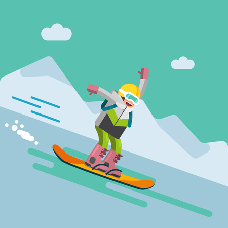 Girl skiing downhill Ilustrace