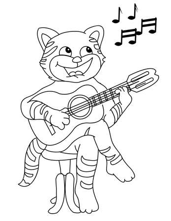 Cat playing guitar Vector