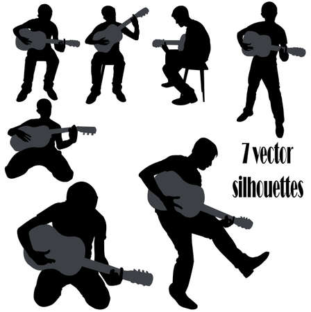 boy playing guitar: Vector silhouettes with guitar