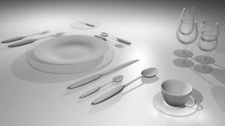 according: Table with a set of dishes according to the rules of etiquette straddling
