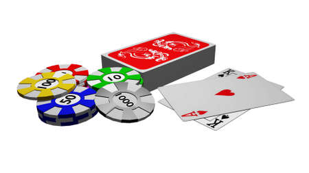 one hundred and ten: Chips and playing cards with the winning combination Stock Photo