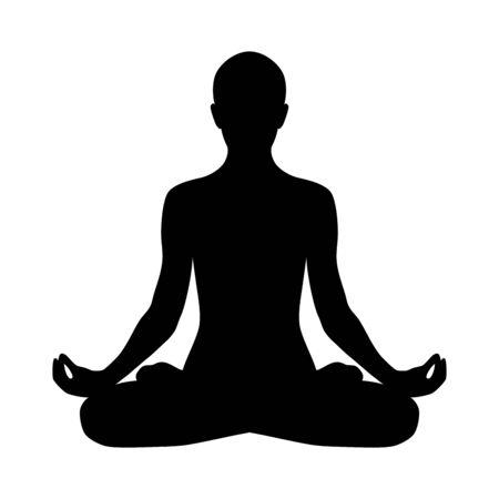 Yoga padmasana silhouette icon. Lotus pose isolated on white background.