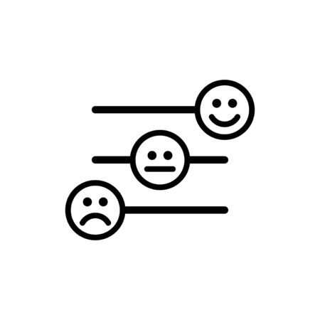 Customer satisfaction icon. Feedback emoticons scale. Happy face level flat pictogram.