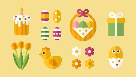 Easter decorative objects and icons set. Flat style. Ilustração