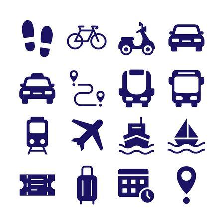 Public transport silhouette icons flat vector set