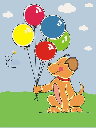dangerously: Cute puppy holding colorful balloons and bee watching dangerously. Made in layers. Editable.