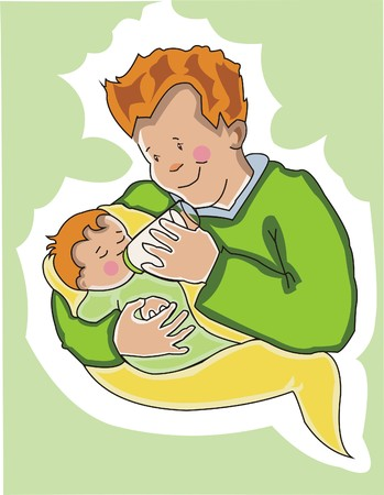 father: Young father feeds his new baby. Made in layers .  Editable.