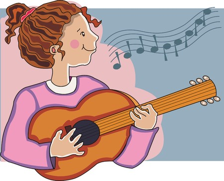 Girl playing beautiful melodies in her guitar. Made in layers. Editable. Vector