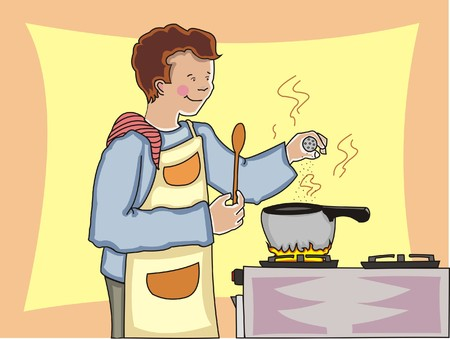 stove: Young man cooking and adding spices to a hot pot on a stove. Made in layers. Editable.