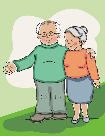 Happy senior couple standing side by side. Made in layers. Editable Illustration