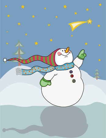 Happy snowman looking at a bright star in the winter sky. Made in layers. Editable. 向量圖像