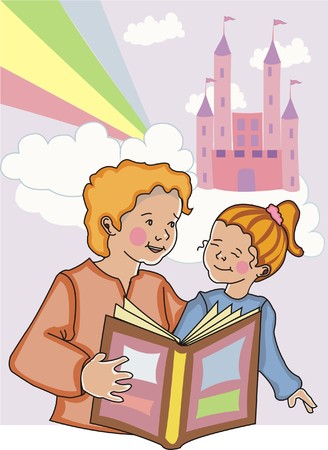 Mom reading a fairytale to her young daughter with castle, clouds and rainbow in the background.