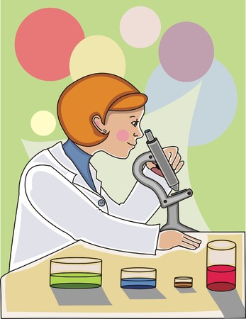 scientist woman: Scientist woman looking trough a microscope with different liquids in glass containers by her side.