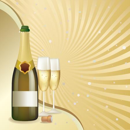 botella champa�a: Fondo de celebraci�n champagne  Vectores