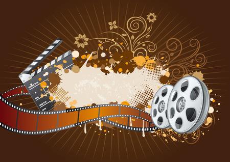 elementos del tema de la película, hermoso fondo floral  Ilustración de vector