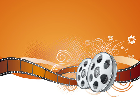 filmstrip:  elements of the film theme, beautiful floral background