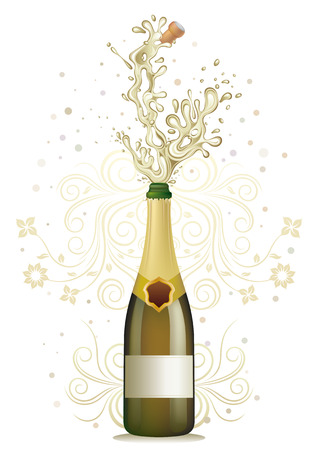 champagne bottle: champagne explosion, floral