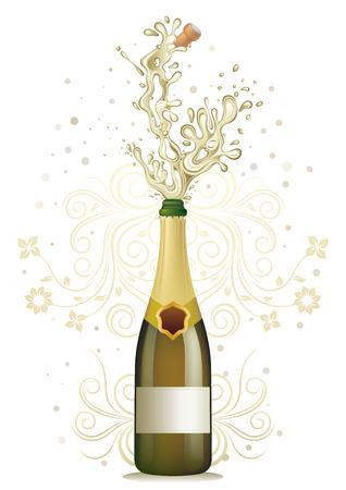 bollicine champagne: esplosione di champagne, floreale