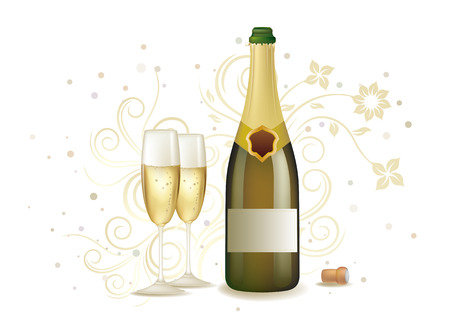 bollicine champagne: sfondo floreale e champagne