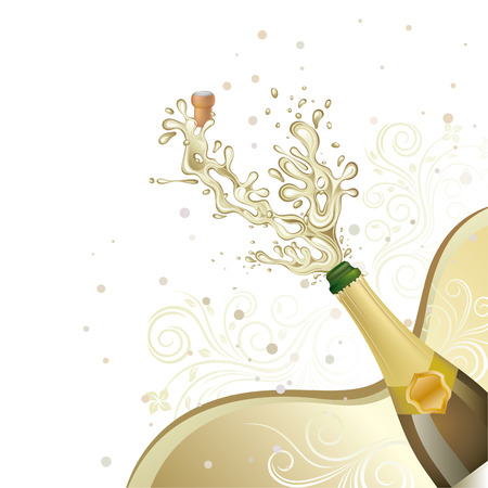 toast: champagne explosion,  floral background Illustration