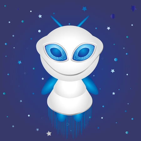 alien and blue background Vector