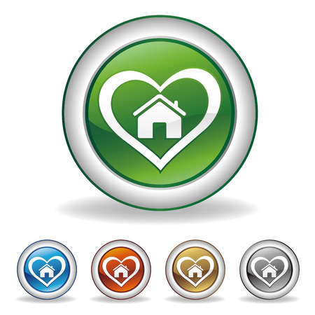 heart and house icon Stock Vector - 7511950