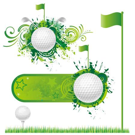 golf drapeau: les �l�ments de conception de golf de vecteurs.