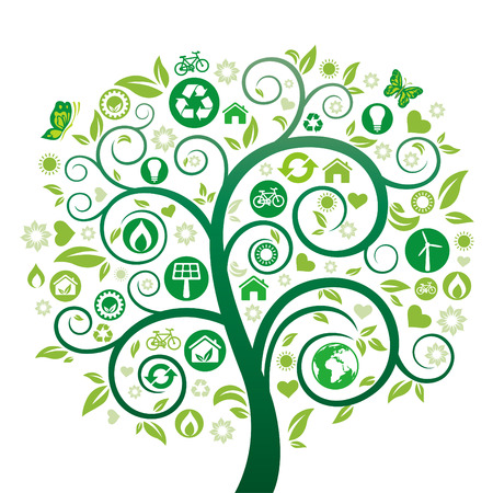 green tree illustration,environment icon Vector