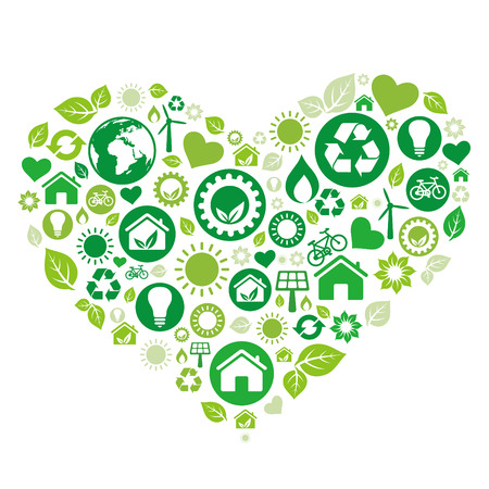 green heart illustration,environment icon Stock Vector - 7511964