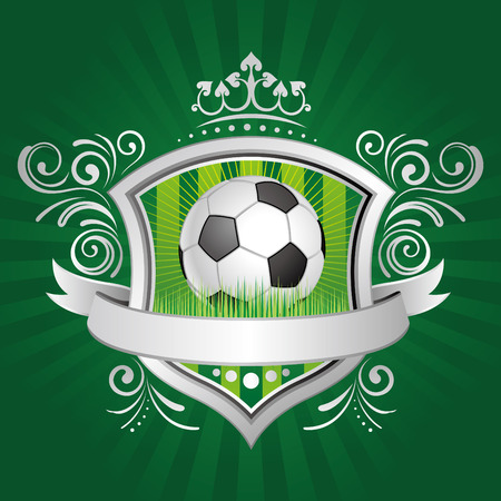 soccer,shield,crown,green background Stock Vector - 7511938